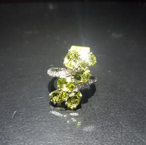 Natural Peridot 6 Stone Ring iv21
